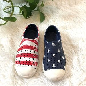 Kids Native Shoes Waterproof Slip On Stars & Flag